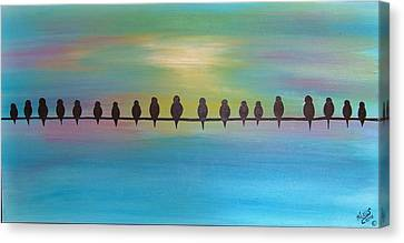 Unemployment Line -economy 2012 Series Of 3 Canvas Print by Cindy Micklos