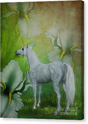 Unicorn And Lilies Canvas Print by Smilin Eyes  Treasures