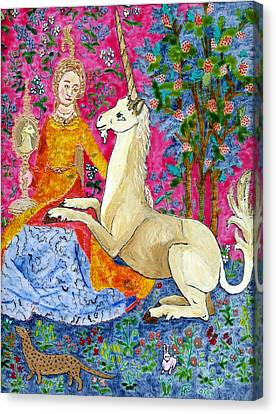 Unicorn And The Lady Canvas Print