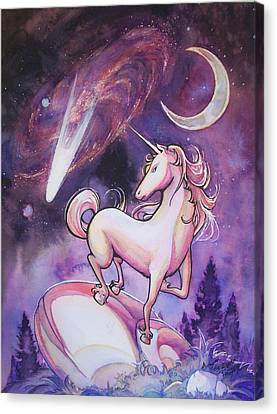 Unicorn And The Night Sky Canvas Print