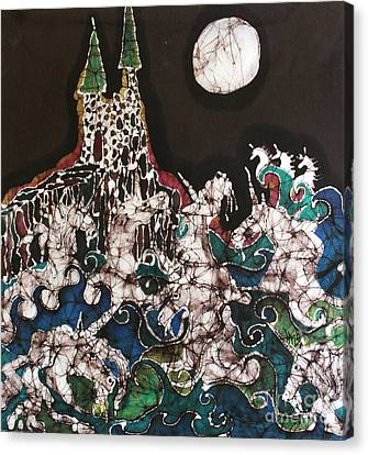 Unicorn In Sea Below Castle Canvas Print by Carol Law Conklin