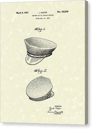 Cap Canvas Print - Uniform Cap 1937 Patent Art by Prior Art Design
