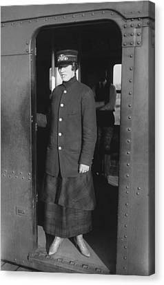 Uniformed Woman Brooklyn Subway Guard Canvas Print by Everett