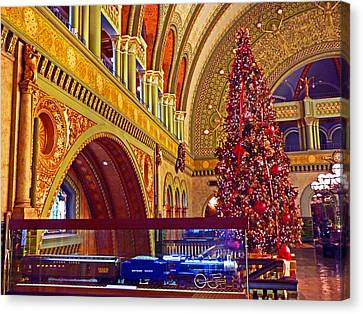 Canvas Print featuring the photograph Union Station Christmas by William Fields