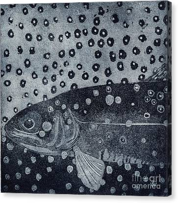 Unique Etching Artwork - Brown Trout  - Trout Waters - Trout Brook - Engraving Canvas Print by Urft Valley Art