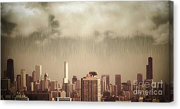 Unique View Of Buildings In Chicago Skyline In The Rain Canvas Print by Linda Matlow