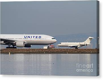 United Airlines Jet Airplane At San Francisco International Airport Sfo . 7d12081 Canvas Print by Wingsdomain Art and Photography