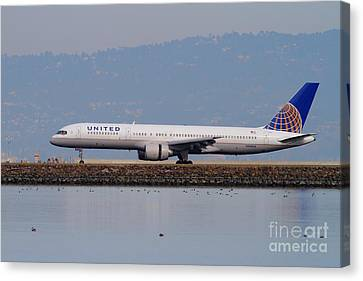 United Airlines Jet Airplane At San Francisco International Airport Sfo . 7d12129 Canvas Print by Wingsdomain Art and Photography