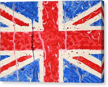 United Kingdom Flag Watercolor Painting Canvas Print by Georgeta  Blanaru