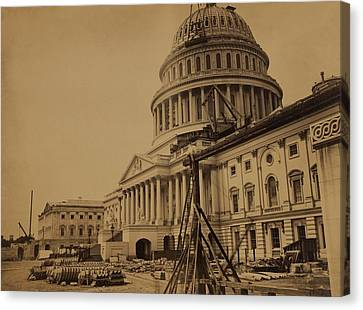 United States Capitol Building In 1863 Canvas Print by Everett