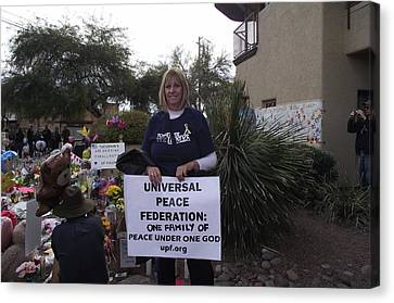 Gabby Giffords Canvas Print - Universal Peace Federation Support Of Congresswoman Gabrielle Giffords by Jayne Kerr