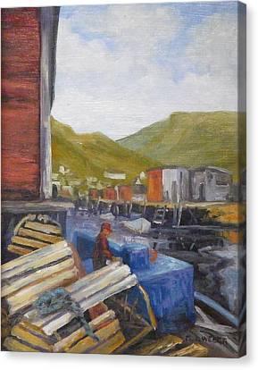 Unloading Canvas Print by M J Weber