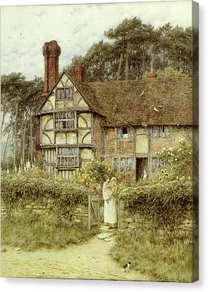 Country Cottage Canvas Print - Unstead Farm Godalming by Helen Allingham