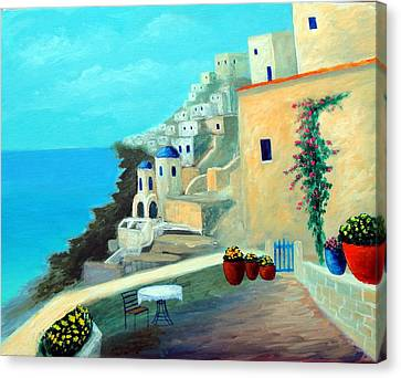 Canvas Print featuring the painting Up High On The Mediterranean by Larry Cirigliano