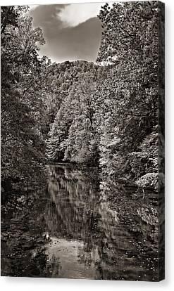 Up The Lazy River Monochrome Canvas Print by Steve Harrington