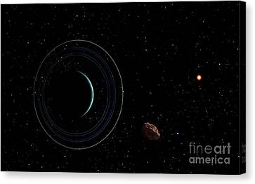 Uranus And Most Of Its Nine Major Rings Canvas Print by Frank Hettick
