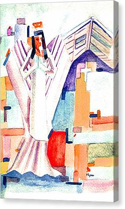 Canvas Print featuring the painting Urban Angel Of Light by Paula Ayers
