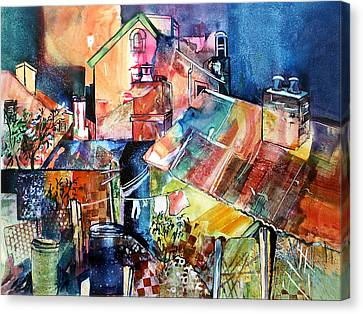 Canvas Print featuring the painting Urban Sprawl 1 by Rae Andrews