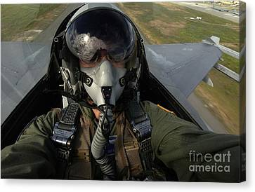 U.s. Air Force Pilot Looking For Nearby Canvas Print by Stocktrek Images