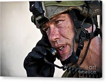 U.s. Air Force Sergeant Calls Canvas Print by Stocktrek Images