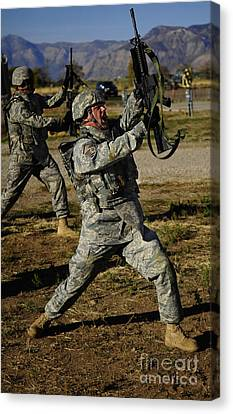 U.s. Air Force Soldier Practices Canvas Print by Stocktrek Images