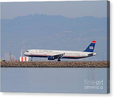 Us Airways Jet Airplane At San Francisco International Airport Sfo . 7d11982 Canvas Print by Wingsdomain Art and Photography