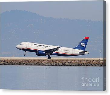 Us Airways Jet Airplane At San Francisco International Airport Sfo . 7d12018 Canvas Print by Wingsdomain Art and Photography