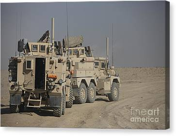 U.s. Army Cougar Mrap Vehicles Canvas Print by Terry Moore