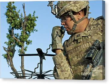 U.s. Army Soldier Calls For Indirect Canvas Print by Stocktrek Images