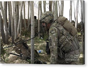 U.s. Army Soldier Communicates Possible Canvas Print