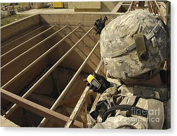 U.s. Army Soldier Takes A Gps Grid Canvas Print by Stocktrek Images