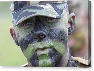 U.s. Army Soldier Wearing Camouflage Canvas Print by Stocktrek Images