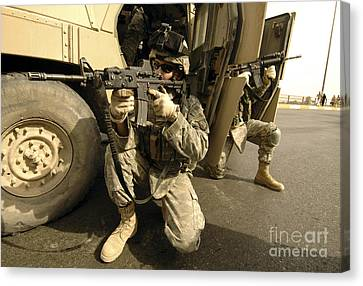 U.s. Army Soldiers Providing Overwatch Canvas Print by Stocktrek Images
