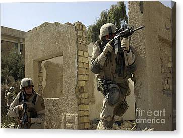 U.s. Army Soldiers Reacting To Small Canvas Print by Stocktrek Images