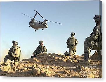 Baghdad Canvas Print - U.s. Army Soldiers Set Up A Security by Stocktrek Images
