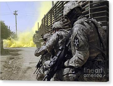 U.s. Army Soldiers Using Smoke Grenades Canvas Print by Stocktrek Images