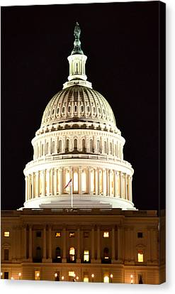 Canvas Print featuring the photograph Us Capitol At Night by Pravine Chester