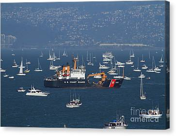 Us Coast Guard Ship Surrounded By Boats In The San Francisco Bay. 7d7895 Canvas Print by Wingsdomain Art and Photography