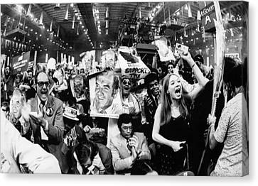 Us Elections.  At Right, Raised Fist Canvas Print by Everett