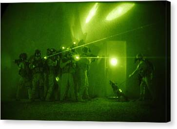 Us Forces Demonstrate Entry Tactics Canvas Print by Everett