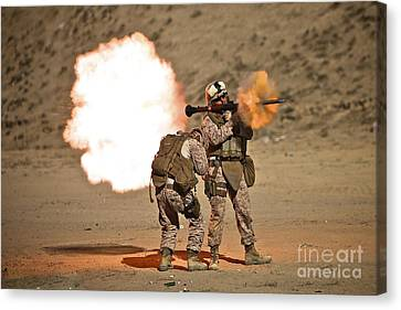 U.s. Marine Fires A Rpg-7 Grenade Canvas Print by Terry Moore