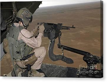 U.s. Marine Test Firing An M240 Heavy Canvas Print by Stocktrek Images