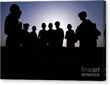 U.s. Marines And Civilian Contractors Canvas Print by Stocktrek Images
