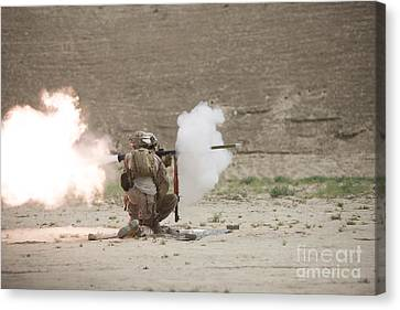 U.s. Marines Fire A Rpg-7 Grenade Canvas Print by Terry Moore