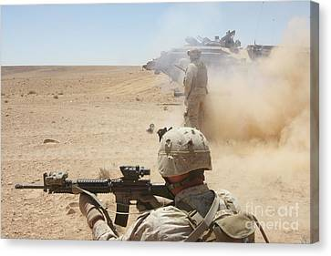 U.s. Marines Fire Several Canvas Print by Stocktrek Images