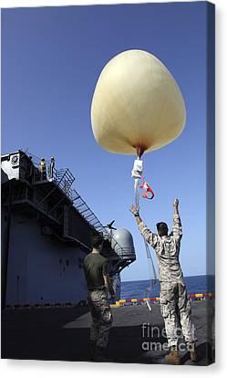 U.s. Marines Launch A Combat Skysat Canvas Print by Stocktrek Images