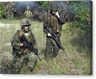 U.s. Marines Secure A Perimeter Canvas Print by Stocktrek Images