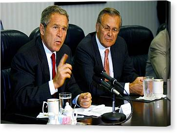 U.s. President George W. Bush Answers Canvas Print by Everett
