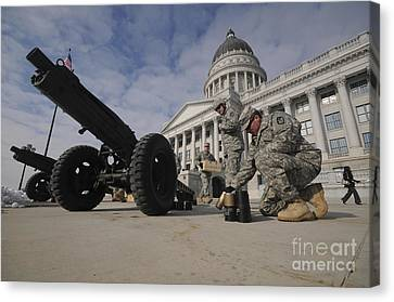 U.s. Soldiers Clean Up After Firing Canvas Print by Stocktrek Images