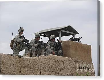U.s. Soldiers Secure A Perimeter Canvas Print by Stocktrek Images